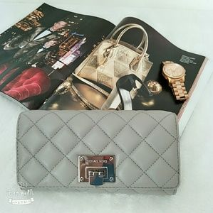 Michael Kors Quilted Large Wallet in Pearl Gray